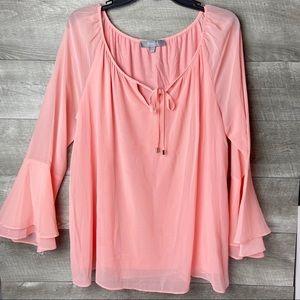 Marled pink tie neck flutter sleeve flowy blouse